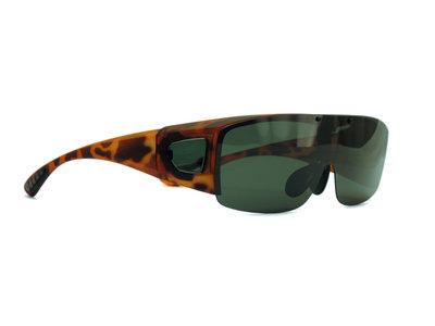 Fitover sunglasses Overzet zonnebril Sonnen Überbrillen Visor havanna