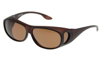 Fitover Overzetzonnebril Sonnenüberbrille Uni Brown (model WT4)